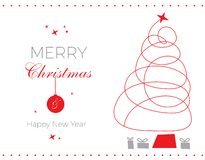 MERRY CHRISTMAS AND HAPPY NEW YEAR, VECTOR CARD TEMPLATE. Minimal Christmas Card, Line Design Abstract Tree, Grey & Red, simple design, Christmas & New year`s stock illustration