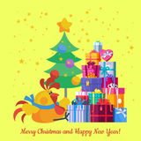 Merry Christmas and Happy New Year. Vector Card Stock Image