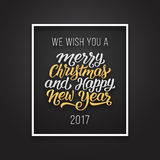 Merry Christmas and Happy New Year vector card. We wish you a Merry Christmas and Happy New Year 2017 phrase in frame on luxury black and golden color background Stock Photography