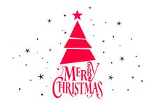 Merry christmas and happy new year vector design with christmas tree and stars royalty free illustration