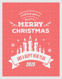 Merry christmas and happy new year 2015 vector Stock Images