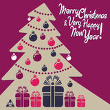 Merry Christmas and Happy New Year!. Vector greeting card for Christmas and New Year stock illustration