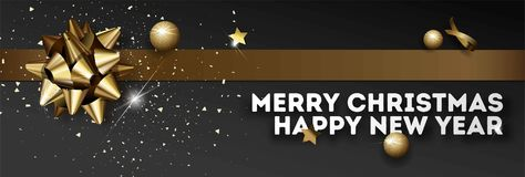 Merry Christmas Happy New Year vector greeting card golden Christmas decoration banner. Merry Christmas and Happy New Year greeting card or web banner design Royalty Free Stock Photo