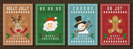 Merry Christmas and Happy new year vector greeting card. stock illustration