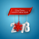 Merry Christmas and Happy New Year 2018 Vector Greeting card. Merry Christmas and Happy New Year 2018. Red ribbon and 3d white paper numbers with snowflake Royalty Free Stock Images