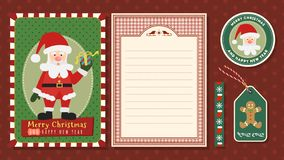 Merry Christmas and Happy new year vector greeting card set. Merry Christmas and Happy new year vector greeting card set with cute cartoon Character royalty free illustration