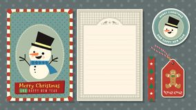 Merry Christmas and Happy new year vector greeting card set. Merry Christmas and Happy new year vector greeting card set with cute cartoon Character stock illustration