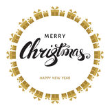 Merry Christmas and Happy New Year vector greeting  card. Royalty Free Stock Images