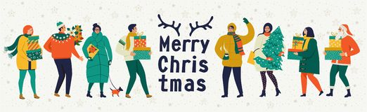 Merry Christmas and happy New year vector greeting card with winter games and people. Celebration template with playing cute peopl royalty free illustration