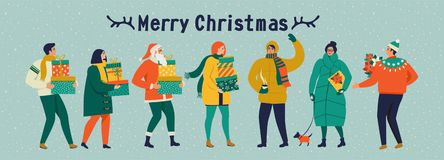 Merry Christmas and happy New year vector greeting card with winter games and people. Celebration template with playing cute peopl vector illustration