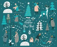 Merry Christmas and happy New year vector greeting card with winter games and people. Celebration template with winter games stock illustration