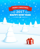 Merry Christmas and Happy New Year 2017. Vector greeting card for Happy New Year 2017 with winter landscape, gift box at white snow and text Merry Christmas on Royalty Free Stock Images