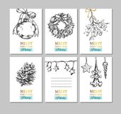Merry Christmas and Happy New Year vector hand drawn labels, card, banners. Christmas ball, Fir-tree cone, Mistletoe, Frozen Star,. Lights, Christmas tree vector illustration
