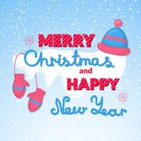 Merry Christmas and Happy New Year vector holiday Royalty Free Stock Photo