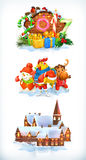 Merry Christmas and Happy New Year 2017. Vector icon set Royalty Free Stock Photos