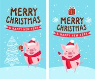 Merry Christmas and Happy New Year 2019. Vector illustration, funny card design with cartoon pig vector illustration