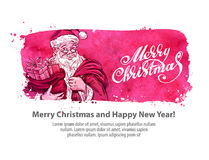 Merry Christmas and happy new year. vector illustration. Happy Santa Claus with gift bag. vector illustration Stock Images