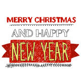 Merry Christmas and Happy new year. Vector image of Merry Christmas and Happy new year Stock Images