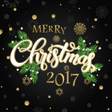 Merry Christmas and happy new year 2017. Vector lettering on black background whit snowflake and gold dots on poster. Isolate font golden decor royalty free illustration