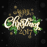 Merry Christmas and happy new year 2017. Vector lettering on black background whit snowflake and gold dots on poster. Isolate font golden decor Royalty Free Stock Image