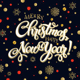 Merry christmas and happy new year 2017. Vector lettering on black background whit snowflake and red, gold dots on poster. Isolate font golden decor Stock Photography