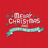 Merry christmas and happy new year. Vector lettring,calligraphy Stock Photo