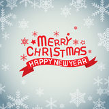 Merry christmas and happy new year. Vector lettring,calligraphy, ribbon Stock Images