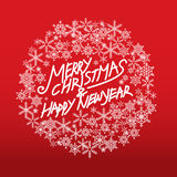 Merry christmas and happy new year. Vector lettring,calligraphy, Xmas card Stock Image