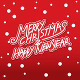 Merry christmas and happy new year. Vector lettring,calligraphy, Xmas card Stock Photos