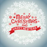 Merry christmas and happy new year. Vector lettring,calligraphy, Xmas card Royalty Free Stock Images
