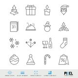 Merry Christmas and Happy New Year Vector Line Icons Set. Christmas and New Year Linear Symbols, Pictograms, Signs royalty free illustration