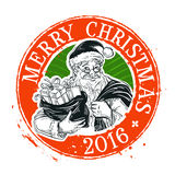 Merry Christmas and Happy New Year vector logo. Merry Santa Claus with gift bag in hand. vector illustration Royalty Free Illustration