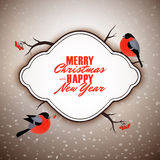 Merry Christmas and Happy New Year vector postcard design, cute bullfinches birds Stock Photography