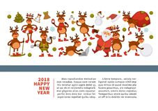 Merry Christmas and Happy New Year 2018 vector poster of deer or reindeer cartoon funny character celebrating holidays. Vector greeting card of dog in Santa Stock Photo