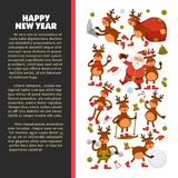 Merry Christmas and Happy New Year 2018 vector poster of deer or reindeer cartoon funny character celebrating holidays. Vector greeting card of dog in Santa Stock Photography
