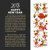 Merry Christmas and Happy New Year 2018 vector poster of deer or reindeer cartoon funny character celebrating holidays. Vector greeting card of dog in Santa Royalty Free Stock Photos