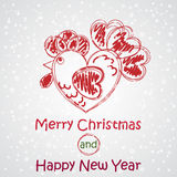 Merry Christmas and Happy New Year. Vector Rooster image. Greeting Card design. Merry Christmas and Happy New Year. Vector Rooster image. Greeting Card for your Royalty Free Stock Photos