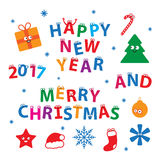 Merry Christmas and Happy New Year Vector Set. Merry Christmas and Happy New Year. Vector set of creative childish letters and words with cute christmas Stock Images