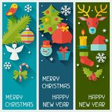 Merry Christmas and Happy New Year vertical Stock Photos