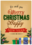 Merry christmas and happy new year Vintage. Christmas Background With Typography stock illustration