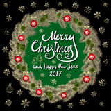 Merry Christmas And Happy New Year 2017 Vintage Background With Typography card with gold Christmas wreath. Vector illustration. Stock Image