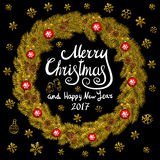 Merry Christmas And Happy New Year 2017 Vintage Background With Typography card with gold Christmas wreath. Vector illustration. Royalty Free Stock Images