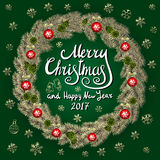 Merry Christmas And Happy New Year 2017 Vintage Background With Typography card with gold Christmas wreath. Vector illustration. Art stock illustration