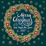 Merry Christmas And Happy New Year 2017 Vintage Background With Typography card with gold Christmas wreath. Vector illustration. Royalty Free Stock Photo