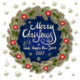 Merry Christmas And Happy New Year 2017 Vintage Background With Typography card with gold Christmas wreath. Vector illustration. Stock Images