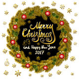Merry Christmas And Happy New Year 2017 Vintage Background  Royalty Free Stock Photography