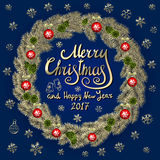 Merry Christmas And Happy New Year 2017 Vintage Background  Stock Photo