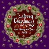 Merry Christmas And Happy New Year 2017 Vintage Background. With Typography card with gold Christmas wreath. Vector illustration. art royalty free illustration