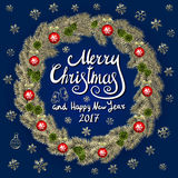 Merry Christmas And Happy New Year 2017 Vintage Background  Royalty Free Stock Photos