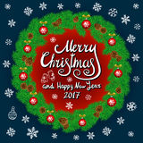 Merry Christmas And Happy New Year 2017 Vintage Background With Typography card with green Christmas wreath. Vector illustration. Stock Photos